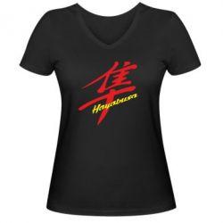 Женская футболка с V-образным вырезом Suzuki Hayabusa