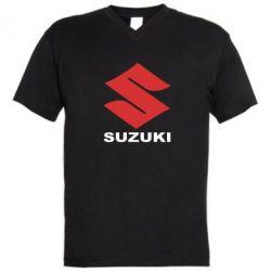 Мужская футболка  с V-образным вырезом Suzuki - PrintSalon