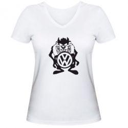 Женская футболка с V-образным вырезом Тасманский дьявол Volkswagen