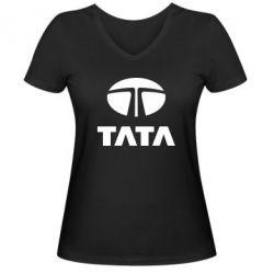 Женская футболка с V-образным вырезом TaTa