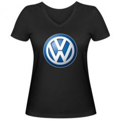 Женская футболка с V-образным вырезом Volkswagen 3D Logo