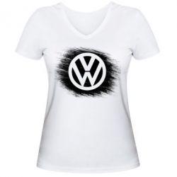 Женская футболка с V-образным вырезом Volkswagen art