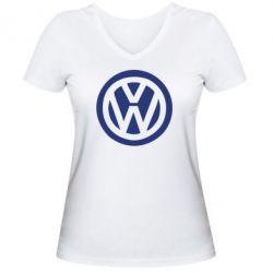 Женская футболка с V-образным вырезом Volkswagen - PrintSalon