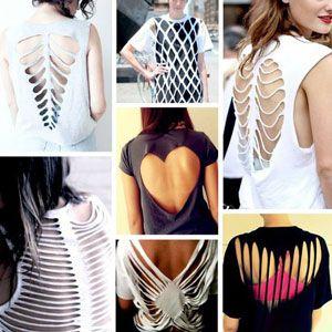 Как сделать на футболке разрезы на спине