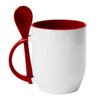 Колір Червоний, Кружки з керамічними ложками - PrintSalon