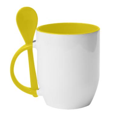 Цвет Желтый, Кружки с керамическими ложками - PrintSalon