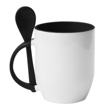 Цвет Черный, Кружки с керамическими ложками - PrintSalon