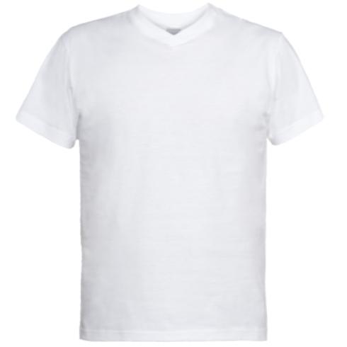 Мужская футболка  с V-образным вырезом Козак з мушкетом