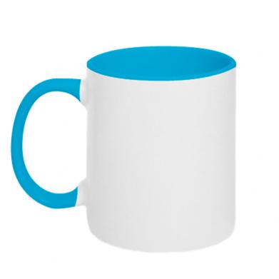 Цвет Голубой+белый, Чашки двухцветные 320ml - PrintSalon