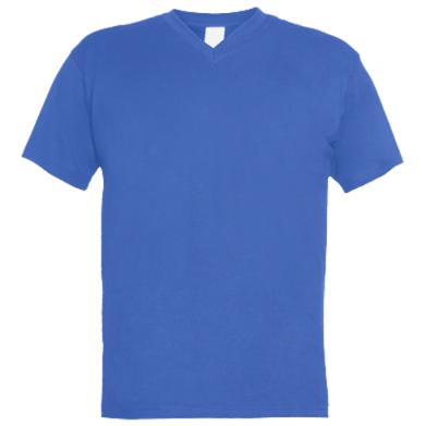 Цвет Синий, Мужские футболки с V-образным вырезом - PrintSalon