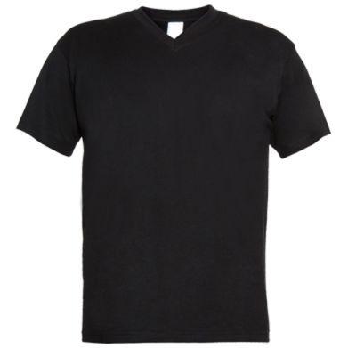 Цвет Черный, Мужские футболки с V-образным вырезом - PrintSalon