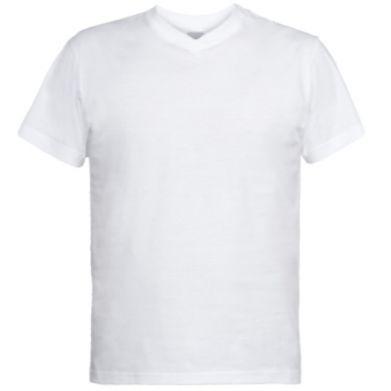 Цвет Белый, Мужские футболки с V-образным вырезом - PrintSalon