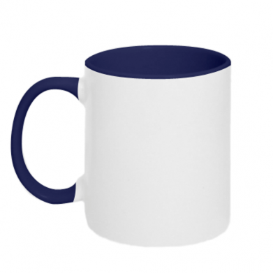 Цвет Темно-синий+белый, Чашки двухцветные 320ml - PrintSalon