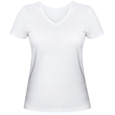 Цвет Белый, Женские футболки с V-образным вырезом - PrintSalon