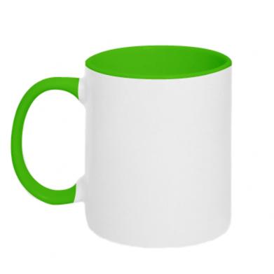 Цвет Салатовый+белый, Чашки двухцветные 320ml - PrintSalon