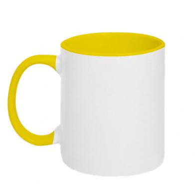 Цвет Желтый+белый, Чашки двухцветные 320ml - PrintSalon