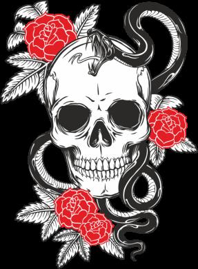 Принт Чашка-хамелеон Череп со змеей и розами, Фото № 1 - PrintSalon