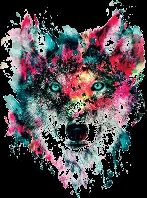 Принт Подушка Watercolor Colorful Wolf - PrintSalon