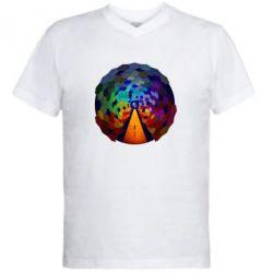 Мужская футболка  с V-образным вырезом Абстракция