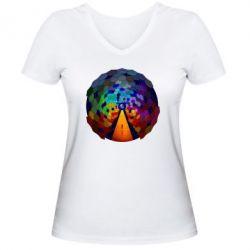 Женская футболка с V-образным вырезом Абстракция