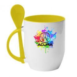 Кружка с керамической ложкой Acura Art