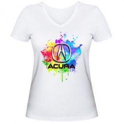 Женская футболка с V-образным вырезом Acura Art