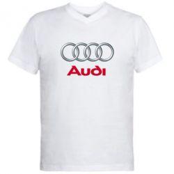 Мужская футболка  с V-образным вырезом Audi 3D Logo