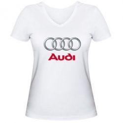 Женская футболка с V-образным вырезом Audi 3D Logo