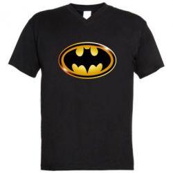 Мужская футболка  с V-образным вырезом Batman logo Gold - PrintSalon