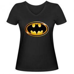 Женская футболка с V-образным вырезом Batman logo Gold - PrintSalon