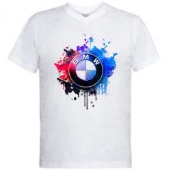 Мужская футболка  с V-образным вырезом BMW logo art 2