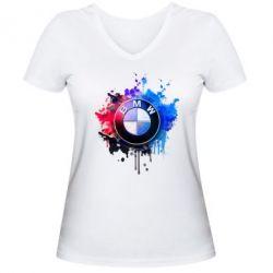 Женская футболка с V-образным вырезом BMW logo art 2