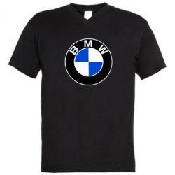 Мужская футболка  с V-образным вырезом BMW - PrintSalon