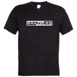 Мужская футболка  с V-образным вырезом Brazzers Logo