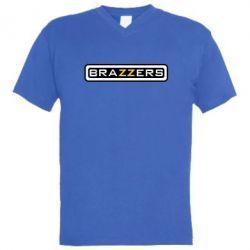 Мужская футболка  с V-образным вырезом Brazzers - PrintSalon