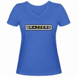 Женская футболка с V-образным вырезом Brazzers - PrintSalon