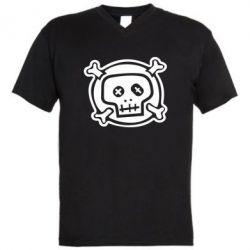 Мужская футболка  с V-образным вырезом Череп  х_х - PrintSalon