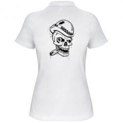 Женская футболка поло Череп с сигарой