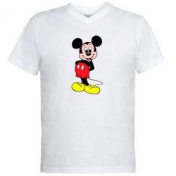 Мужская футболка  с V-образным вырезом Довольный Микки Маус - PrintSalon
