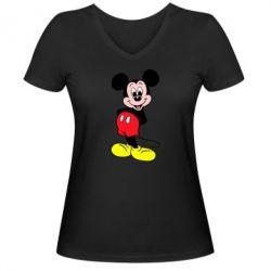 Женская футболка с V-образным вырезом Довольный Микки Маус - PrintSalon