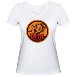 Женская футболка с V-образным вырезом Drift for Life
