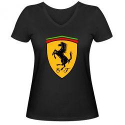 Женская футболка с V-образным вырезом Ferrari