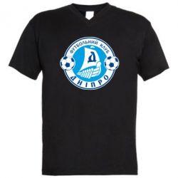 Мужская футболка  с V-образным вырезом ФК Днепр - PrintSalon