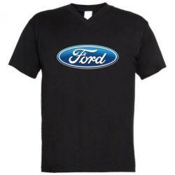 Мужская футболка  с V-образным вырезом Ford 3D Logo - PrintSalon