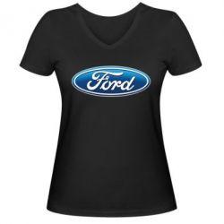 Женская футболка с V-образным вырезом Ford 3D Logo - PrintSalon