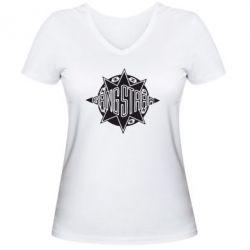 Женская футболка с V-образным вырезом Gang Starr