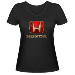 Женская футболка с V-образным вырезом Gold Honda - PrintSalon