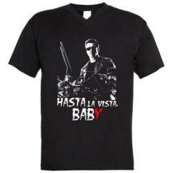 Мужская футболка  с V-образным вырезом Hasta La vista, Baby