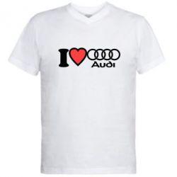 Мужская футболка  с V-образным вырезом I love audi