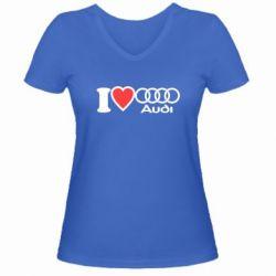Женская футболка с V-образным вырезом I love audi